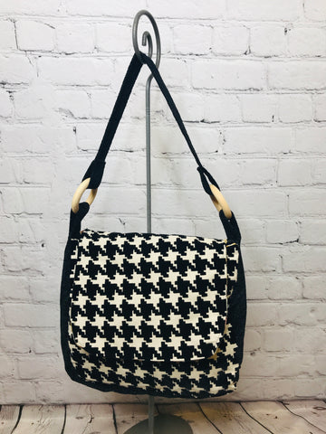 Houndstooth in Black Oh Bag