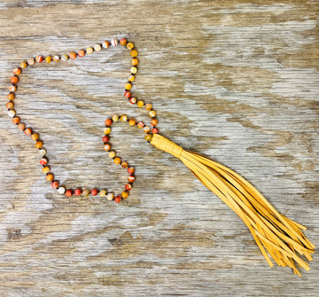 Sunshine Beads w/ Tan Leather Tassel Necklace 01524