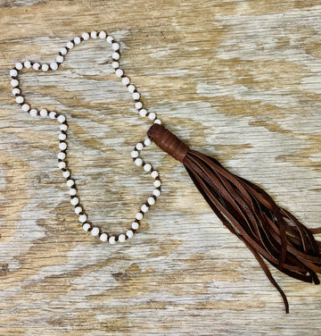 Pearl Leather Tassel Necklace 01278