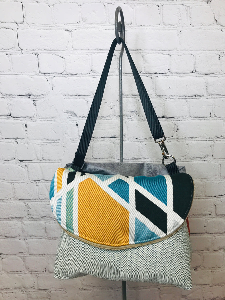 Geometric Teal Messenger/Backpack