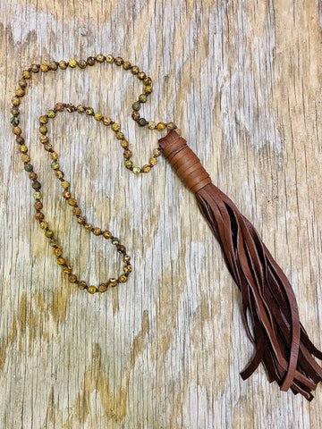 Agate Stone Leather Tassel Necklace 02139