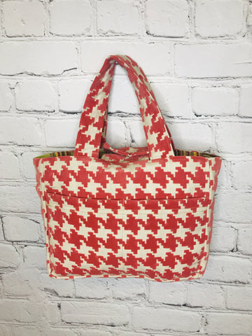 Coral Houndstooth Bible Bag