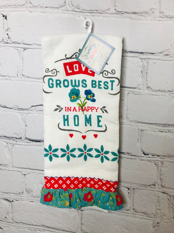 Love Grows Best Tea Towel 01029