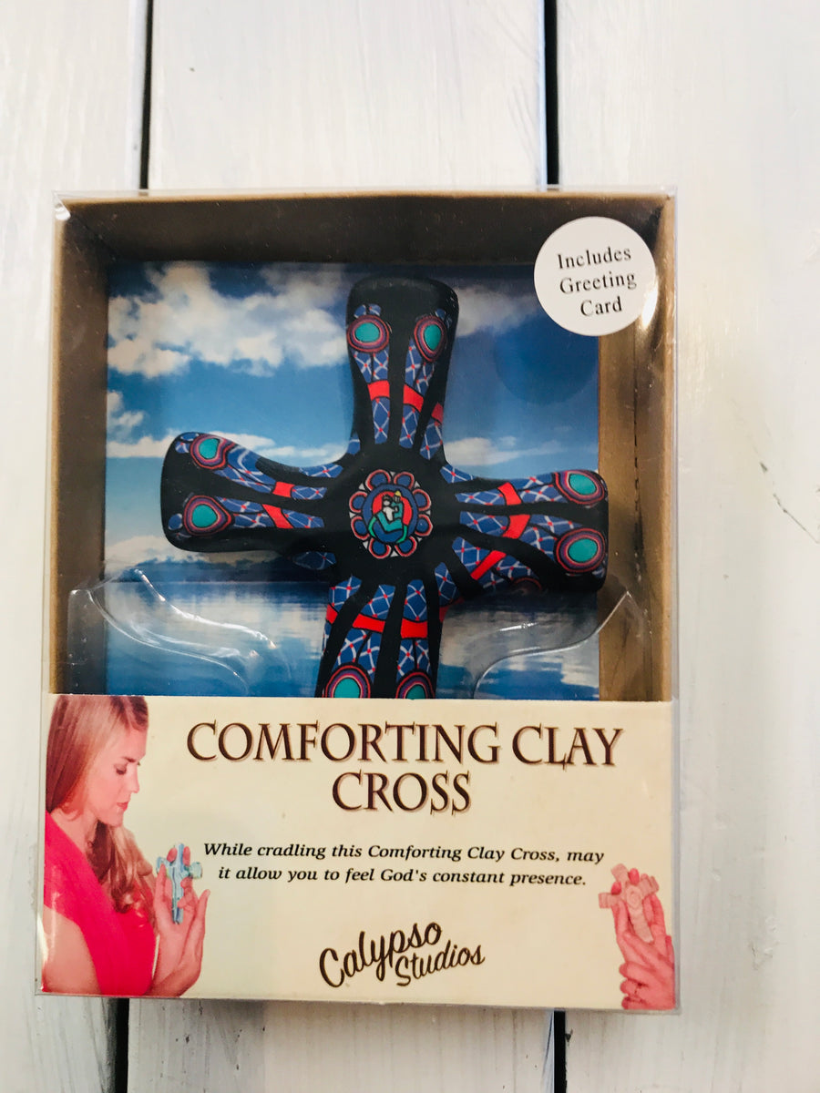 Comforting Clay Hand Held Cross 00513