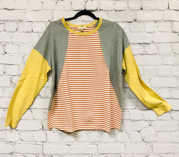 Stripe Mix Solid Cotton Shirt 01118