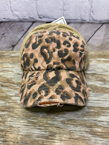 LEOPARD DISTRESSED STRETCH MESH HIGH PONY CC BALL CAP 01697