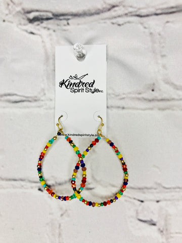 Teardrop Multi Colored Beads Earrings 01230