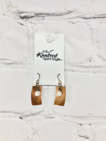 Pearl and Copper Earrings 00923