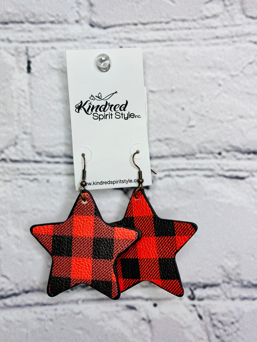 02685-Buffalo Plaid Star Earrings