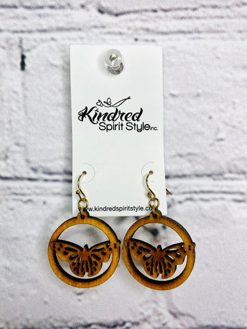 02686- Wooden Butterfly Earrings