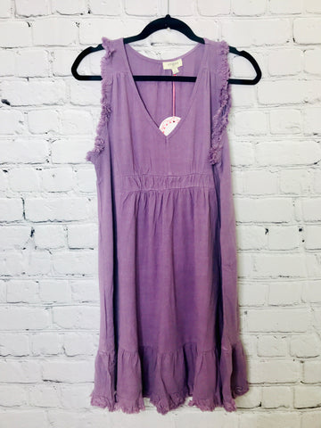 Frayed Sleeveless Linen Blend Dress 01674