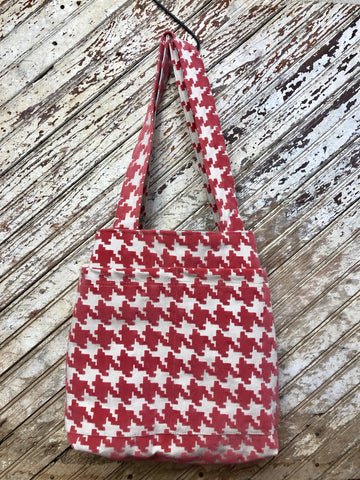 Houndstooth in Coral Stay Organized Tote