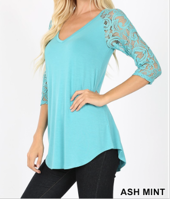 LUXE RAYON LACE SLEEVE V-NECK DOLPHIN HEM TOP- 01505