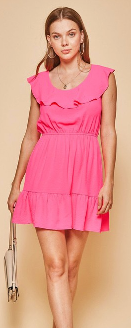 Hot Pink PLUS SIZE SOLID DRESS- 01539