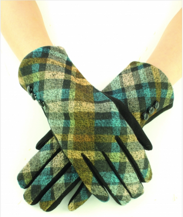 02514- Two Tone Plaid Diamond Gloves