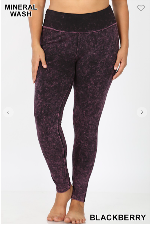02561-  Plus MINERAL WASHED FOLD-OVER WAIST YOGA LEGGINGS