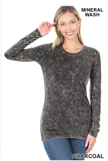 02578- MINERAL WASH LONG SLEEVE ROUND NECK TEE
