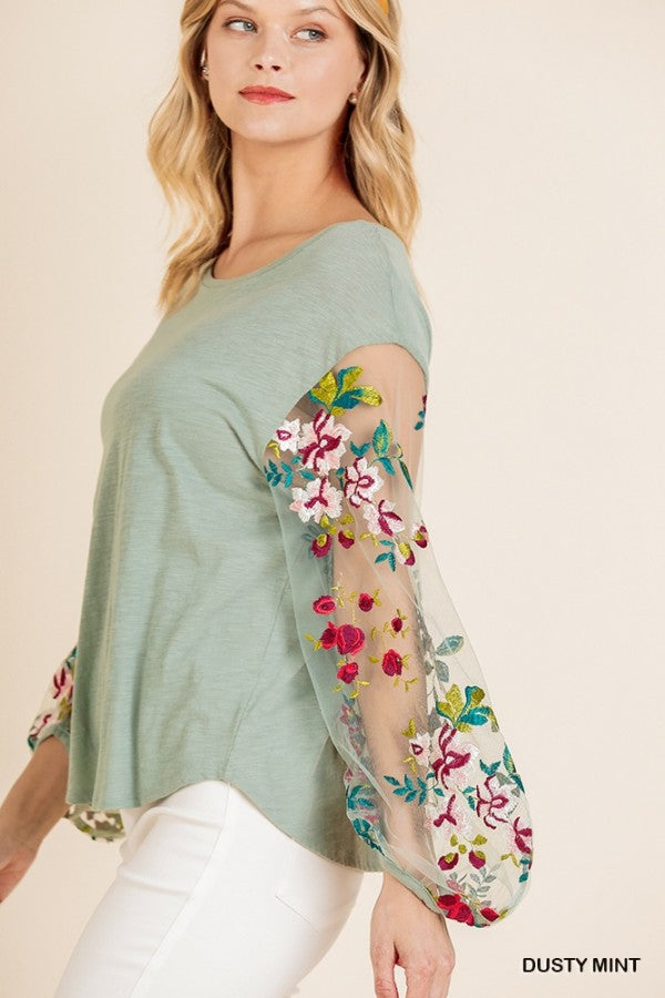 Floral Embroidered Sheer Puff Sleeve Top with a Slub Knit Body 01327