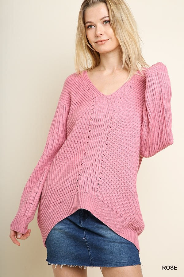 V-Neck Knit Pullover Sweater 02347