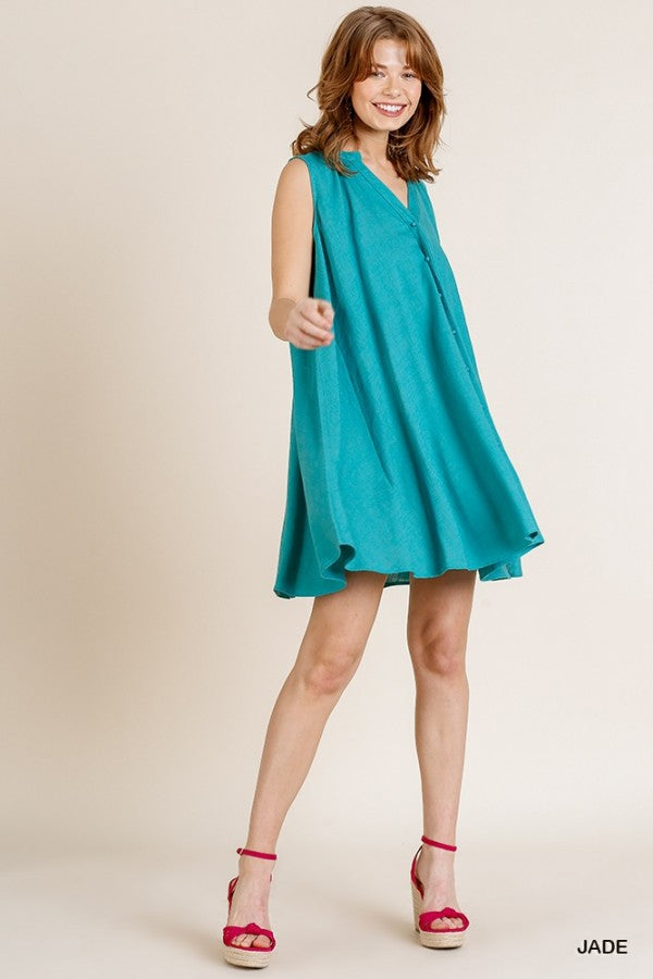 Sleeveless Split Neck Button Front Dress 01329