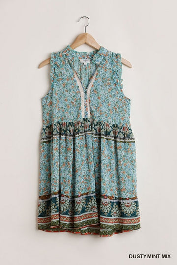 Floral and Paisley Printed Dress 01808