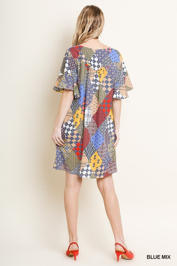 Mixed Print Short Ruffle Sleeve Sweetheart Neckline Dress with Pockets 01733