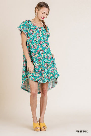 Floral Print Short Ruffle Sleeve Round Neck High Low Fishtail Scoop Hem Dress with Pockets 01406
