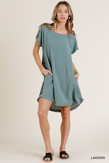 Short Ruffle Sleeve Round Neck Dress with Dalmatian Print Back and Ruffle Frayed Scoop Hem 01064