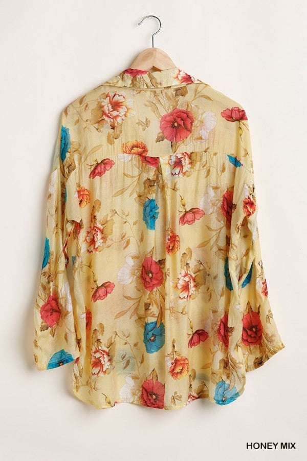 Floral Print Button Up Shirt and Long Sleeves with Tabs 01544