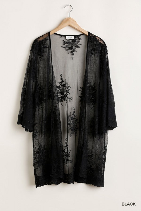 Open Front Floral Embroidered Kimono with Lace Details and Front Tie 01545