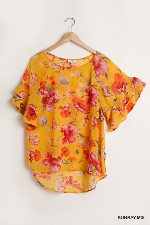 Sheer Floral Print Short Bell Sleeve Top with Scoop Hem 01677