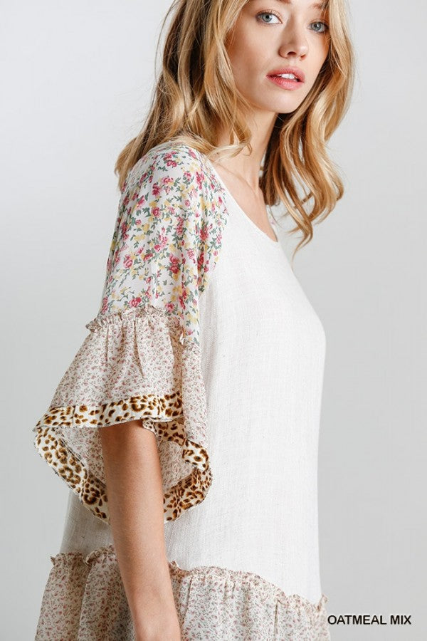 Floral and Animal Print Bell Sleeves 02356
