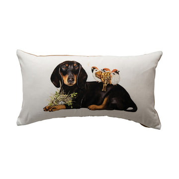 Dachshund, Birds & Jute Pillow 01699