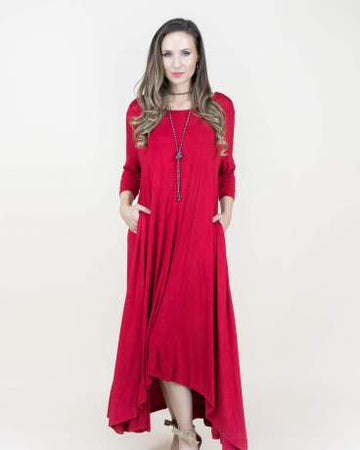 Free Falling 3/4 sleeve Drapey Maxi Dress 00851