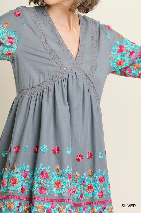 3/4 Sleeve V-Neck Babydoll Dress 01960