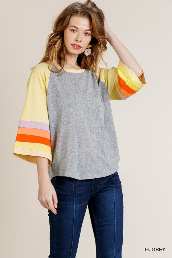Colorblocked Bell Slleve Round Neck Top with Scoop Hem 01116