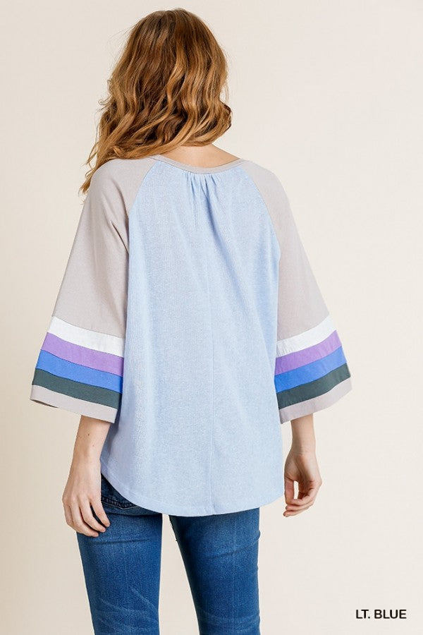 Colorblocked Bell Sleeve Round Neck Top with Scoop Hem 01116