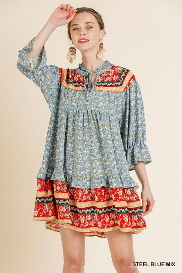 Floral Scarf Mixed Print 3/4 Puff Sleeve Keyhole Dress 01859