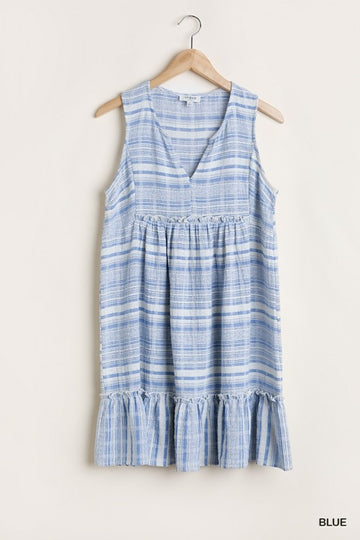 Sleeveless Striped Dress featuring a Split Neck 01706