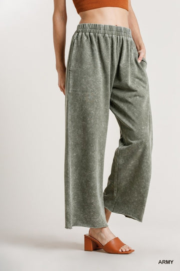 Mineral Washed Wide Leg Pants 02782