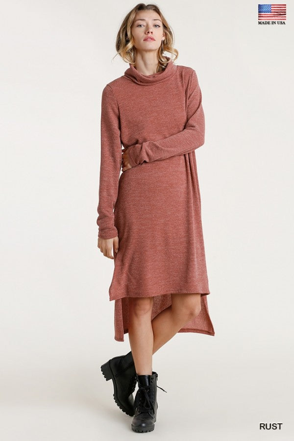 Turtle Neck Dress High Low 02786