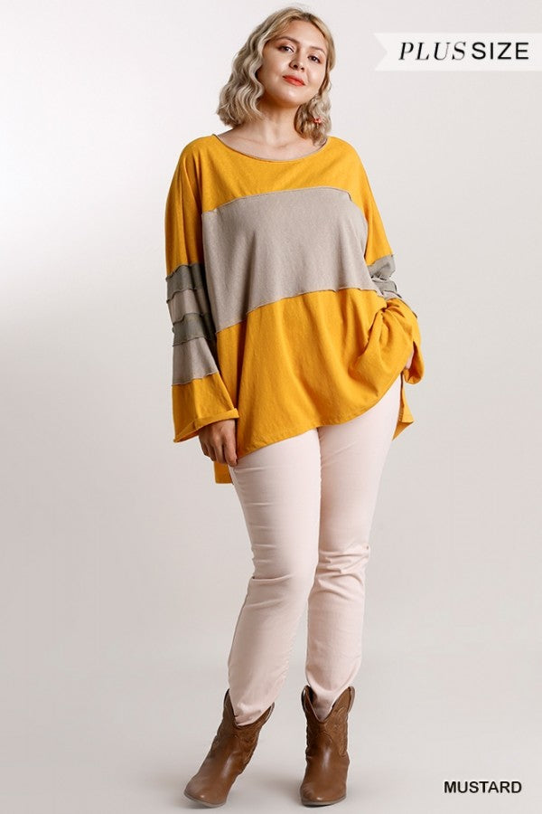 Colorblock Round Neck Long Sleeve Top 02409