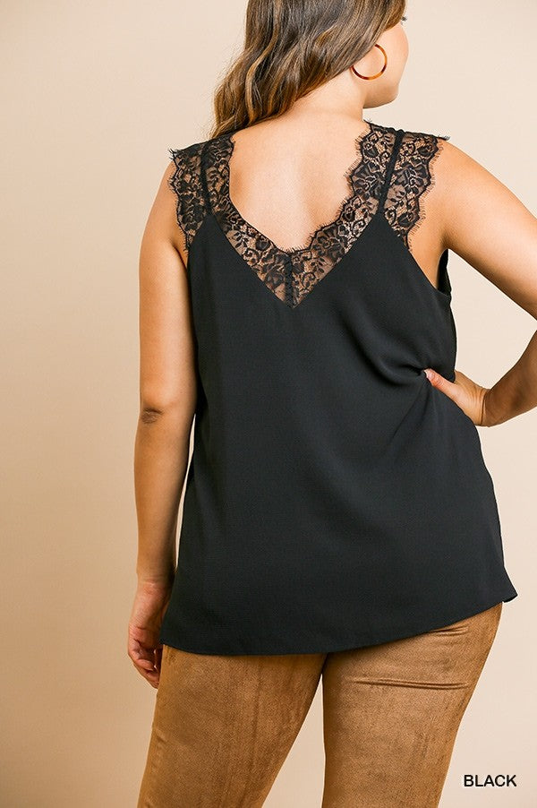 Sleeveless V-Neck Floral Lace Cami Top with Side Slits 01550