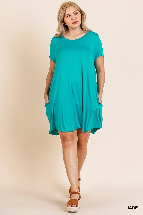 Basic Short Sleeve Pocket Tee Dress 01713