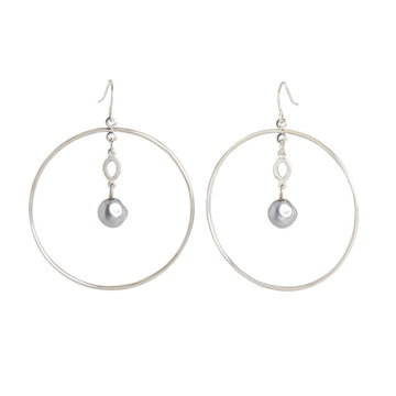 Silver Hoop with Dangle Pearl earrings 02023
