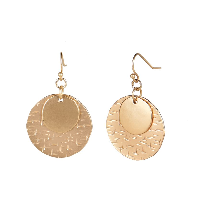 Gold Stacked Moon Dangle Earrings 02012
