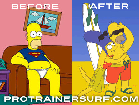 Homer Simpson sufing before and after picture for pro trainer surf