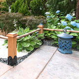 4x4 flat wooden post caps on bamboo railing posts