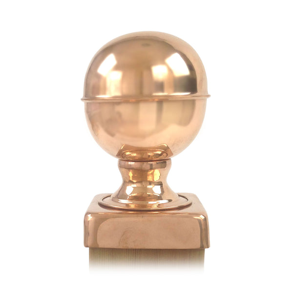 Front view of 4x4 Copper Finial Globe Post Cap
