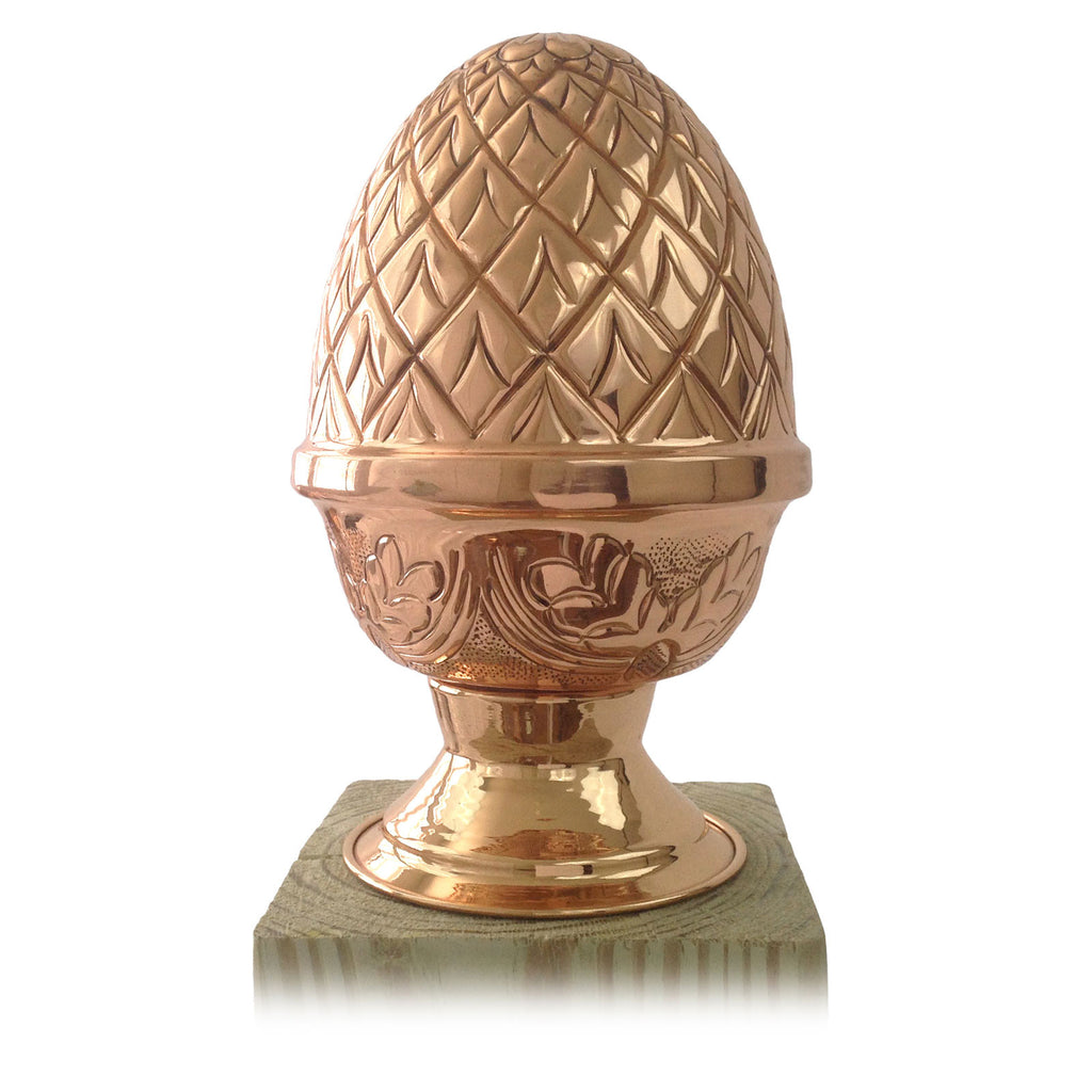 Front view of 5x5, 6x6 Copper Finial Pineapple Post Cap - Screw Base